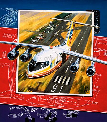 Unidentified aircraft taking off from runway over a blueprint design. Original artwork.