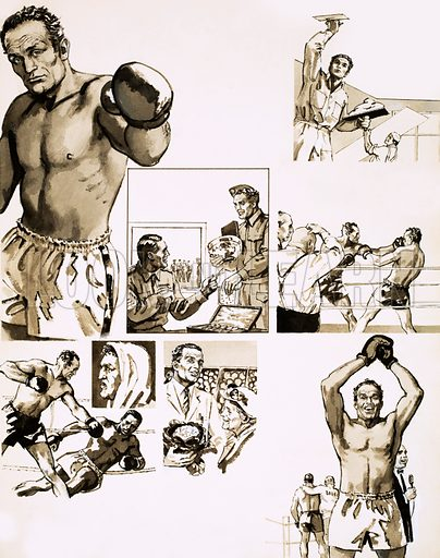 Their Sporting Lives: The Gentle Champion. Comic strip biography of Henry Cooper, the world heavyweight boxing champion. Original artwork from Look and Learn no. 444 (18 July 1970).