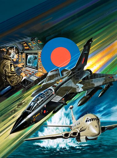 The Making of a Flyer. Tornado strike aircraft (centre) plus air electronics operators (top) and low-leval training flights in a Dominie aircraft (bottom). Original cover artwork from Look and Learn no. 1046 (27 March 1982).
