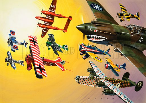 They Pass with Flying Colours. Aircraft montage featuring (left hand page) SPAD XIII (biplane), Bristol M1C (striped in RAF markings), Fokker D VII (German biplane); Lockheed P-38 (Yippee), Albratros DVa (German biplane); (right hand page Top to Bottom): Westland Lysander, Curtiss Hawk 81A, Boeing P-26a, Grumman F3F-2 (biplane), B-24 Liberator. Original artwork from Look and Learn Book 1979.