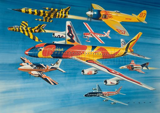 They Pass with Flying Colours. Aircraft montage featuring (left top to bottom): Canadian CF-104G Starfighter and French Dessault Super Mystere B2 (both in tiger markings), McDonnell Douglas DC-8 (large), Piper Aztec 250; (right top to bottom): Hawker Sea Fury II, Hello Super Courier, McDonnell Douglas F4 Phantom, another McDonnell Douglas DC-8. Original artwork from Look and Learn Book 1979.