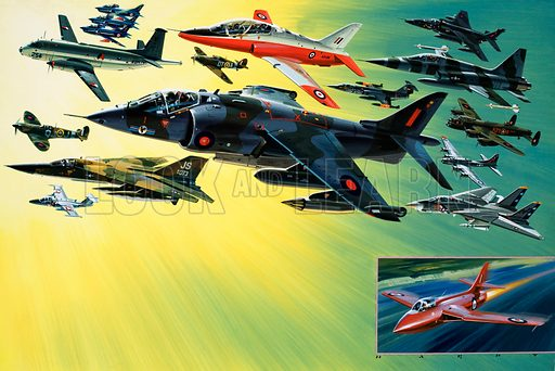 The World's Air Aces on Display. (Left column top to bottom): Aeritalla G91 PANs of the Italian aerobatic team, Breguet Atlantic, Supermarine Spitfire, Saab 105 OE, General Dynamics F-111E; (centre top to bottom): Hawker Siddeley Hawk, Hawker Hurricane, Hawker Siddeley Harrier; (right top to bottom): SEPECAT Jaguar, Northrop F-5E Tiger II, Lockheed F104G Starfighter, Avro Lancaster RAFB, Boeing B-17 Flying Fortress, Grumman F-14 Tomcat; (inset) Hawker Hunter. Original artwork from Look and Learn no. 759 (31 July 1976).