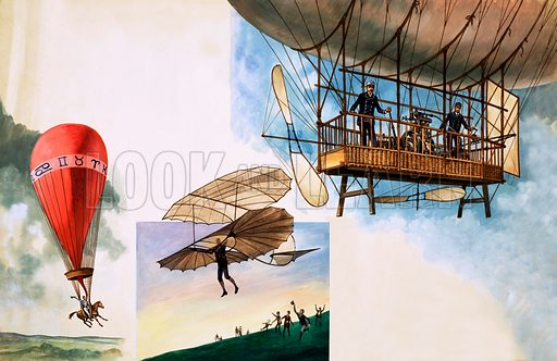 Once Upon a Time… flying one hundred years ago. Balloons and ballooning from M Poitevan riding his horse attached to a balloon to a German airship. Original artwork from Treasure 275 (20 April 1968).