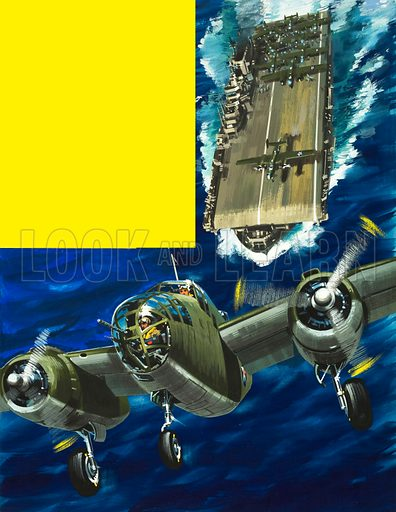 """Into the Blue: """"This Force is Headed for Tokyo"""". AB-52 bomber takes off from an aircraft carrier headed for Japan in World War II. Original artwork from Look and Learn no. 366 (18 January 1969)."""