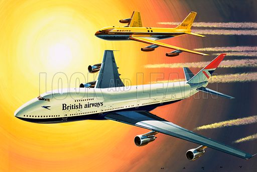 Wings Around the World: Giants and Jumbos. The first of the big jets used by BOAC was the Boeing 707 (background) which went into service in 1960 replaced by the Boeing 747 (foreground) which first flew in 1969 <br />