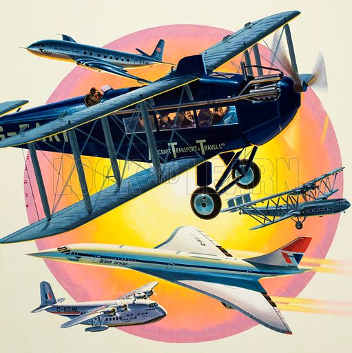 Taking Off… Montage of passenger planes including Concord. Original cover artwork from Look and Learn no. 864 (5 August 1978).