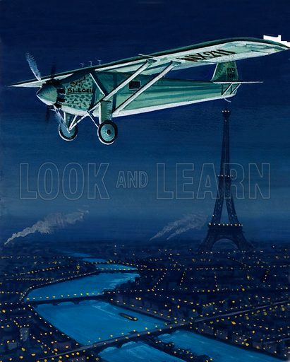 The Stuntman who Became a Star. Cut-away drawing of Charles Lindbergh's Ryan monoplane, the Spirit of St Louis, in which he flew the Atlantic.  Shown flying over Paris.