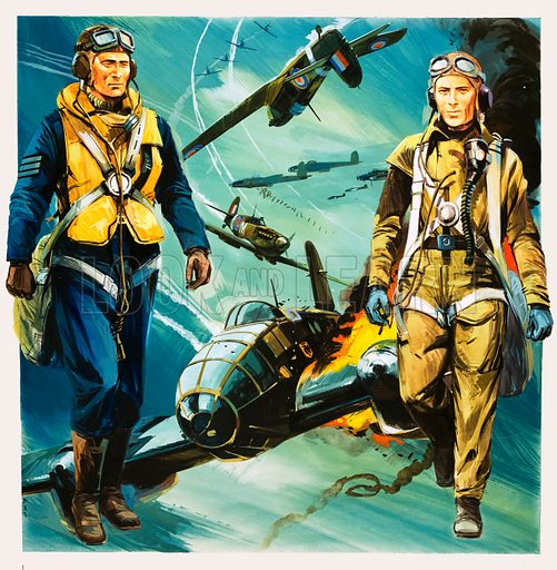 Terror From the Skies. Wartime pilots and the Battle of Britain. Original cover artwork from Look and Learn no. 652 (13 July 1974).