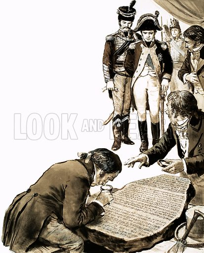 Napoleon watching scholars attempting to translate the Rosetta Stone, Egypt, 1799. Original artwork from Look and Learn no. 443 (11 July 1970).