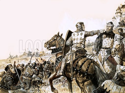 Unidentified battle scene with soldier pointing at King. Original artwork (dated 18/11/70).