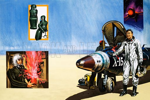 """Under Pressure: Stairway to the Stars. An X-15 pilot breaths the desert air after a journey to the edge of space; (inset) """"space sleeping-bags"""", an early attempt to create a safe pressure suit, and an experiment in explosive decompression. Original artwork from Look and Learn no. 630 (9 February 1974)."""