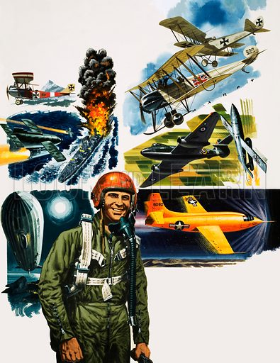 Unidentified pilot against a montage of aircraft. Original artwork.