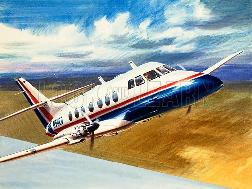 Into the Blue: The Handley Page Jetstream. Original artwork from Look and Learn no. 301 (21 October 1967).