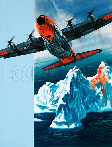 Into the Blue: Iceberg Patrol. A Lockheed Hercules patrolling icebergs for the Coast Guard. Original artwork from Look and Learn no. 375 (22 March 1969).