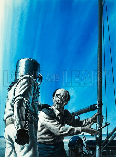 Under Pressure. Wiley Post, experimentor with pressure suits, was once forced into an emergency landing and had to ask a local yachtsman to help take off his helmet. Original artwork from Look and Learn no. 629 (2 February 1974).