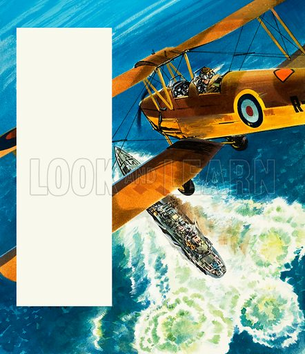 Into the Blue: Tiger Patrol. A Tiger Moth patrolling the British coast during World War II. Original artwork from Look and Learn no. 312 (6 January 1968).