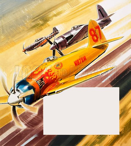 Into the Blue: Hot Rods of the Air. Three 'hot rod' racers from Aerobatic competitions: (foreground to back) P-51 Mustang, Grumman F-8F Bearcat and a Hawker Sea Fury. Original artwork from Look and Learn no. 330 (11 May 1968).
