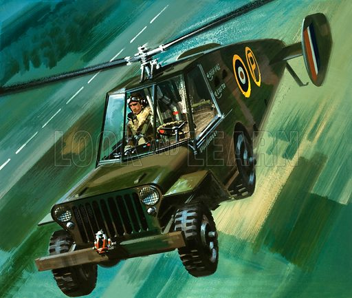 Into the Blue: The Flying Jeep. A military transport glider developed by the ML Aviantion Company as a way to drop a heavy jeep into battle zones. Original artwork from Look and Learn no. 376 (29 March 1969).
