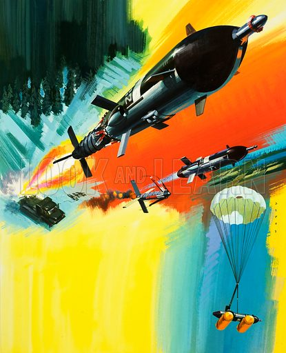 Unidentified ground to air missile and parachute landing. Original artwork (dated April).
