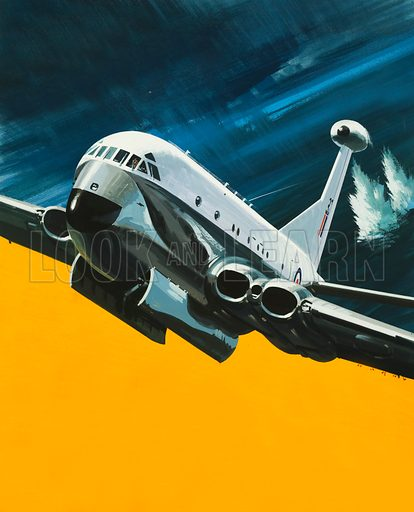 Men and Machines: Sub Killer. The Hawker Siddeley Nimrod. Original artwork from Look and Learn no. 485 (1 May 1971).