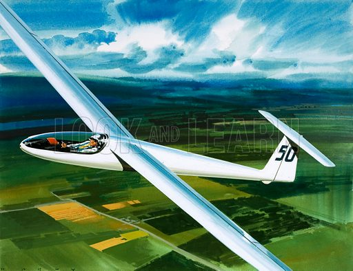Into the Blue: Gliding Adventure. Dr Brennig James, the first British pilot to fly 500 miles in a glider. Original artwork from Look and Learn no. 364 (4 January 1969).
