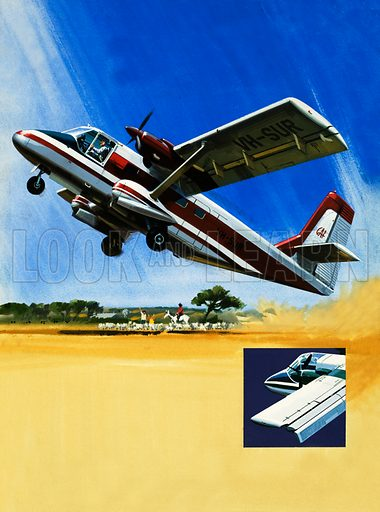 Modern Marvels: The All-Purpose Nomad. Twin-engined Nomad short take-off plane with (inset) a close up of the trailing wing flaps. Original artwork from Look and Learn no. 579 (17 February 1973).