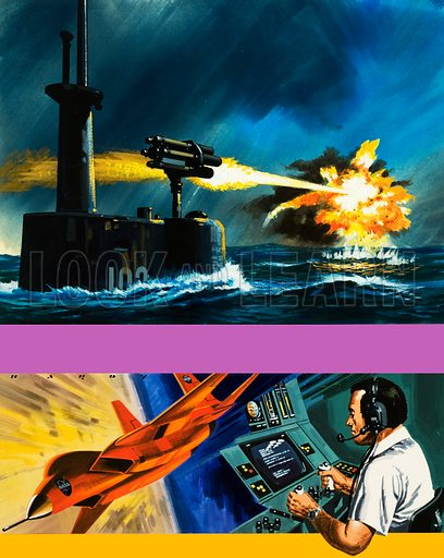 Modern Marvels: Blowpipe Strikes Back. A rocket launcher developed for use by submarines and a robot spy plane with his controller. Original cover artwork from Look and Learn no. 596 (16 June 1973).