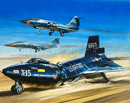 Into the Blue: Emergency Lake-Bed Landing. An emergency landing of the X-15 during a test flight. Original artwork from Look and Learn no. 374 (15 March 1969).