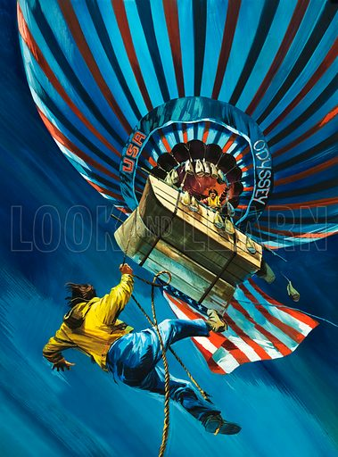 Stowaway in the Skies. In August 1975 the Odyssey balloon made an attempt to cross the Atlantic but when it was launched, a stowaway had secretly planned to hitch a ride. Original cover artwork from Look and Learn no. 734 (7 February 1976).