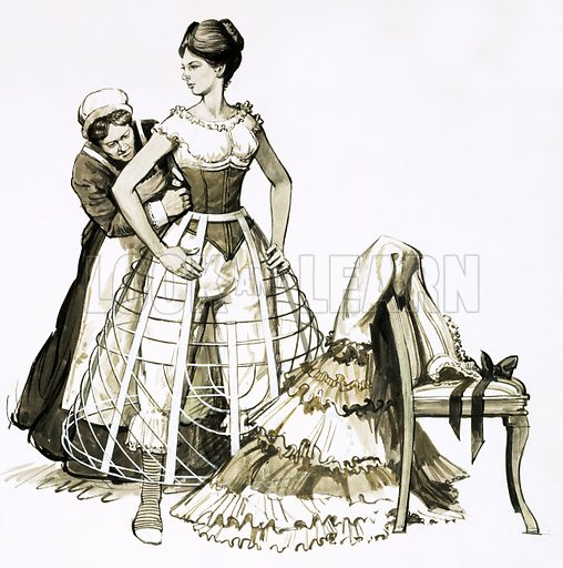 Fads in Fashion: The Colossal Crinolene. The wire device known as a 'cage crinolene' used by women in the 1850s. Original artwork from Look and Learn no. 451 (5 September 1970).