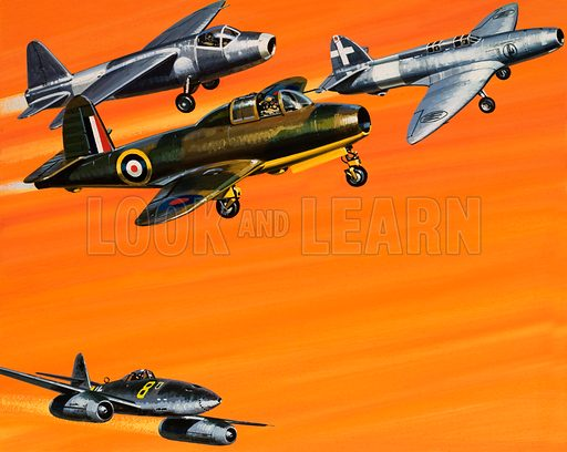 Heralds of the Jet Age. (top left) Heinkel HE 178; (below it) The Caproni Campini No 1; (top right) The Gloster Whittle E28/39; (bottom left) Messerschmitt ME 262. Original artwork from Look and Learn no. 708 (9 August 1975).