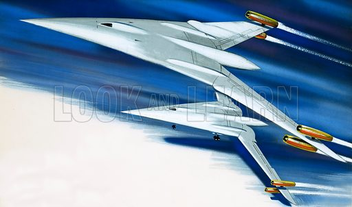 Concept aircraft.  Original artwork for World of Knowledge.