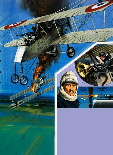 Flying Firsts: Duels Among the Clouds. (Main pic) A Voisin bomber becomes the first winner of an aerial dog fight; (inset) Roland Garros, the first fighter ace, and the deflector plate system which allowed him to fire through the propeller; plus the German pilot who attacked a gramaphone horn to a rifle – a noisy but ineffective weapon. Original artwork from Look and Learn no. 702 (28 June 1975).