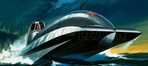 Unidentified jet powered boat. Original artwork (dated 20 June).