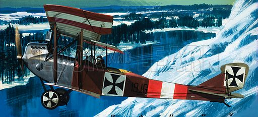 Flying Firsts: Mail By Balloon. The Lohner B1 in which Oberleutnant Taussig flew mail from Przemyal when it was beseiged by Russian forces during World War I. Original artwork from Look and Learn no. 703 (5 July 1975).