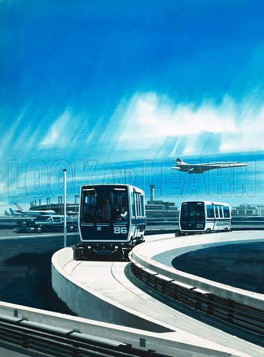 Skyport 2001. Futuristic design of an airport with driverless automated 'airtrain' carrying passengers to terminals and Concord in background. Original artwork from Look and Learn no. 623 (22 December 1973).