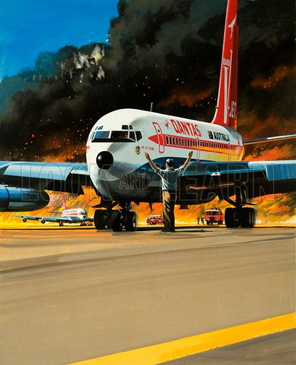 Men and Machines: Bush Fire! Quantas passenger airliner is moved out of the path of a raging bush fire. Original artwork from Look and Learn no. 432 (25 April 1970).