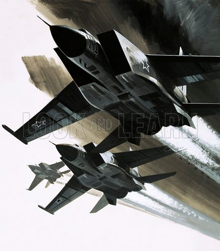 Modern Marvels: The Day of the Eagle. The McDonnell Douglas F-15 Eagle jet fighter. Original artwork from Look and Learn no. 570 (16 December 1972).