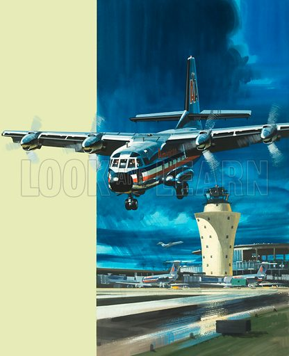 Men and Machines: STOL. The Brequet 941 capable of short take-off and landing plane. Original artwork from Look and Learn no. 423 (21 February 1970).