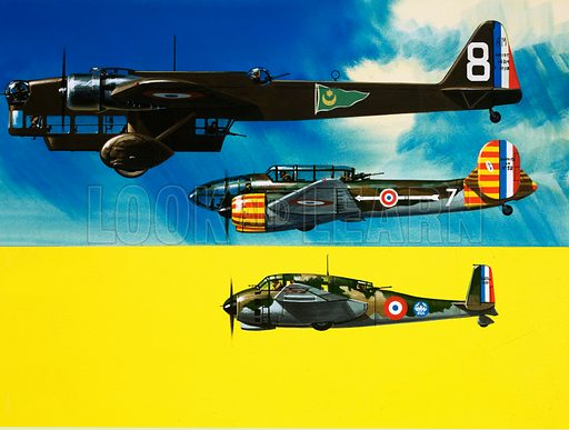 Into the Blue: French Aircraft of World War II. Amiot 143, Bloch 174 and Breguet Bre 693 bombers. Original artwork from Look and Learn no. 401 (20 September 1968).