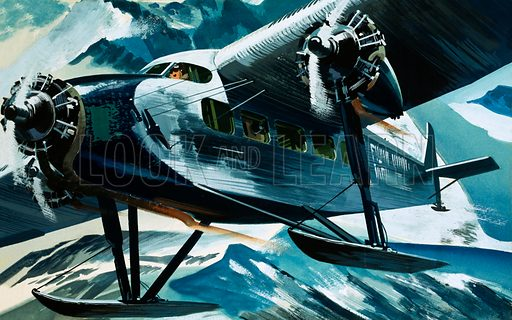 Unidentified aircraft flying over snowy mountains. Original artwork.