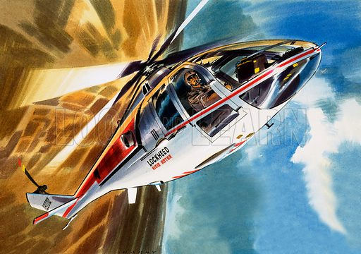 Into the Blue: Aerobatic Helicopter. Original artwork from Look and Learn no. 339 (13 July 1968).