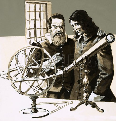 The Writer and His World: The Puritan Poet. After many difficulties, John Milton finally managed to meet Galileo. Original artwork from Look and Learn no. 576 (27 January 1973).