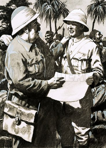 Outposts of the Empire: On the Road to Mandalay. Lieutenant Downes and the artist Melton Prior, nicknamed the Fat Man, with Prior's drawing of the British attack on Minhla in Burma. Original artwork from Look and Learn no. 587 (14 April 1973).