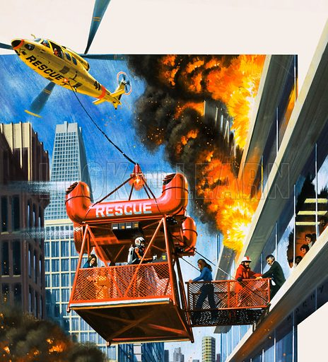 Flying Firemen of the Future. Helicopter fire rescue service. Original cover artwork from Look and Learn no. 848 (15 April 1978).