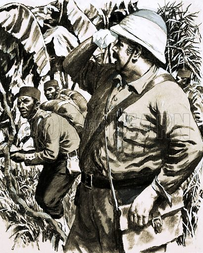 Outposts of the Empire: On the Road to Mandalay. Melton Prior, nicknamed the Fat Man, marching through the Burmese jungle with the 11th Bengal Native Infantry on the way to Minhla. Original artwork from Look and Learn no. 587 (14 April 1973).