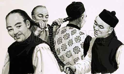 Measuring the braids of a Chinaman's hair. Original artwork (dated 14 April).