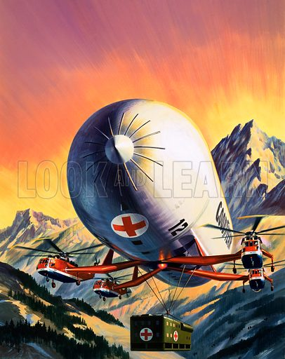 The Lightweight Heavyweight Lifters. A futuristic combination of helicopters and airships used for carrying large loads. Original cover artwork from Look and Learn no. 771 (23 October 1976).