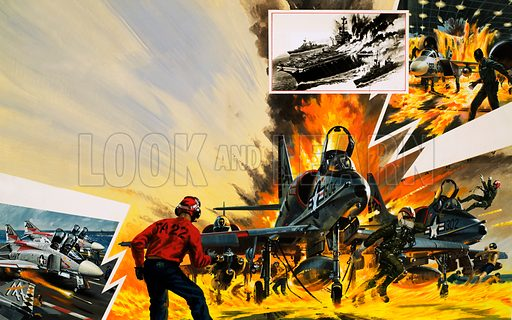 Disaster on the United States Navy aircraft carrier Forrestal on 27 July 1967. Original artwork for Speed Power Book 1979.