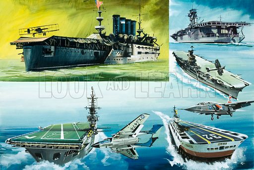 Sky High: Seagoing Aerodromes. Clockwise from top left: Eugene Ely landing on a platform fitted to the USS Pennsylvania in 1911; HMS Hermes; HMS Ark Royal; American jet plane taking off from a futuristic aircraft carrier;  aircraft fitted with Firestreak missiles; HMS Victorious. Original artwork from Look and Learn no. 682 (8 February 1975).